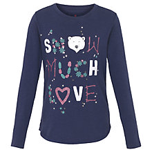 Buy Fat Face Girls' Snow Much Love Long Sleeve T-Shirt, Navy Blue Online at johnlewis.com