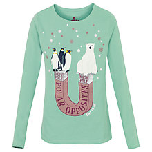 Buy Fat Face Girls' Polar Opposites Long Sleeve T-Shirt, Green Online at johnlewis.com