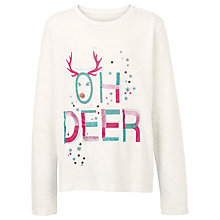 Buy Fat Face Girls' Oh Deer Long Sleeve T-Shirt, Ecru Online at johnlewis.com