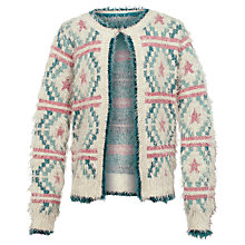 Buy Fat Face Girls' Sophia Fluffy Cardigan, Marl Grey Online at johnlewis.com