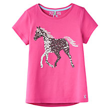 Buy Little Joule Girls' Astra Sequin Horse T-Shirt, Pink Online at johnlewis.com