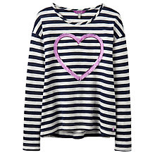 Buy Little Joule Girls' Cora Heart Top, Navy Online at johnlewis.com