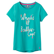Buy Little Joule Girls' Floral Buttercup Slogan T-Shirt, Green Online at johnlewis.com