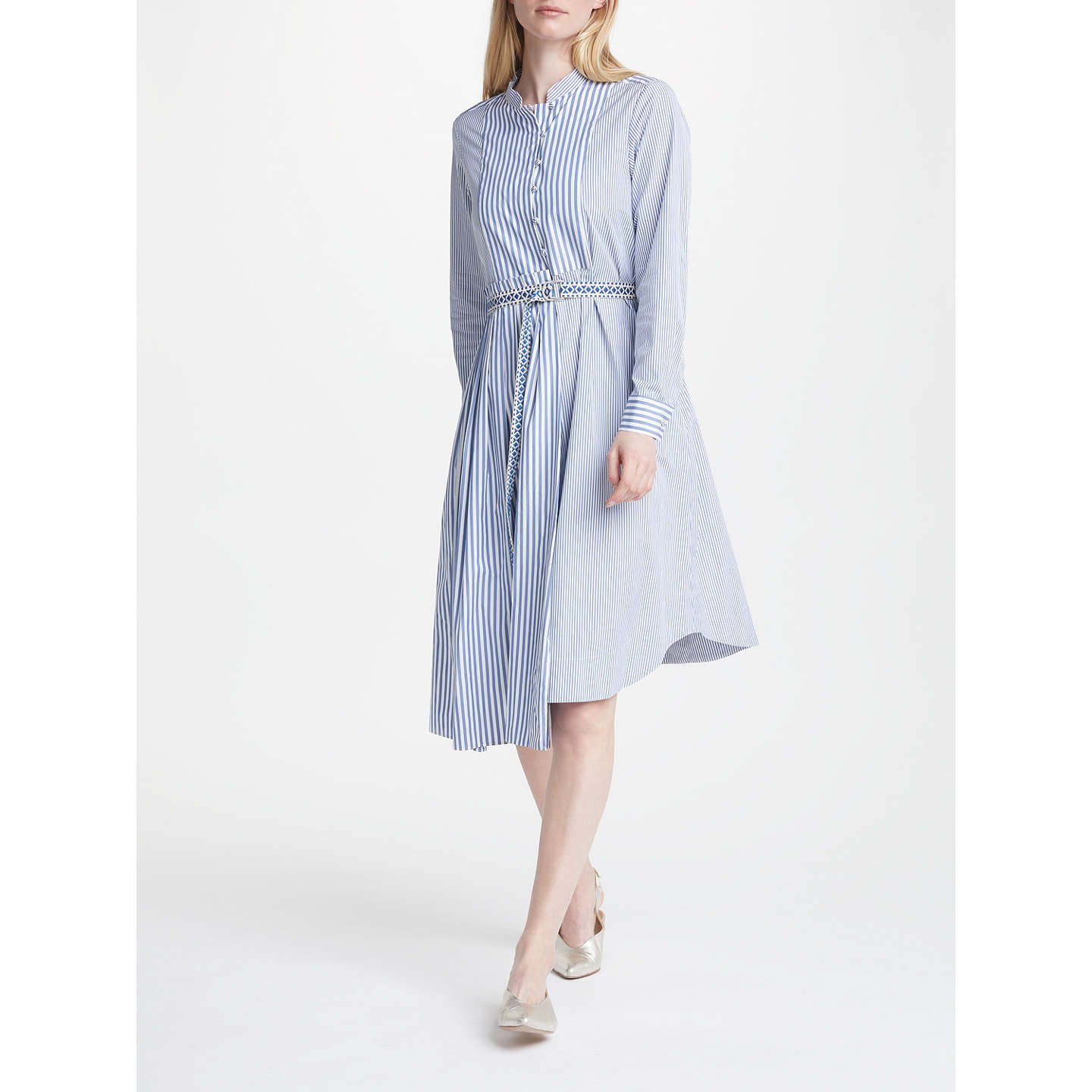 BuyWeekend MaxMara Aerovia Cotton Poplin Dress, Blue, 8 Online at johnlewis.com