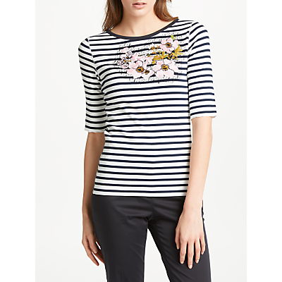 Marc Cain Embroidered Breton Stripe T-Shirt, Navy/Multi