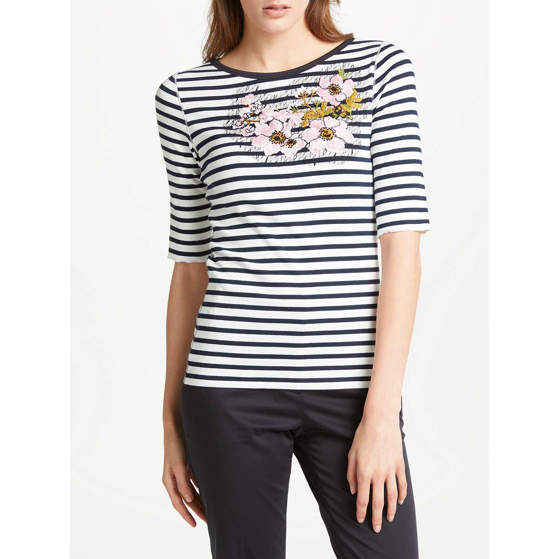 Marc Cain Embroidered Breton Stripe T-Shirt, Navy/Multi