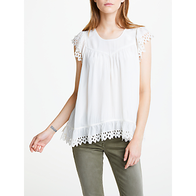Maison Scotch Broderie Frill Sleeve Top, White