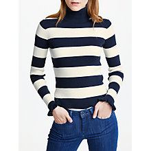 Buy Maison Scotch Striped Ruffle Sleeve Polo Neck Top, Navy/White Online at johnlewis.com