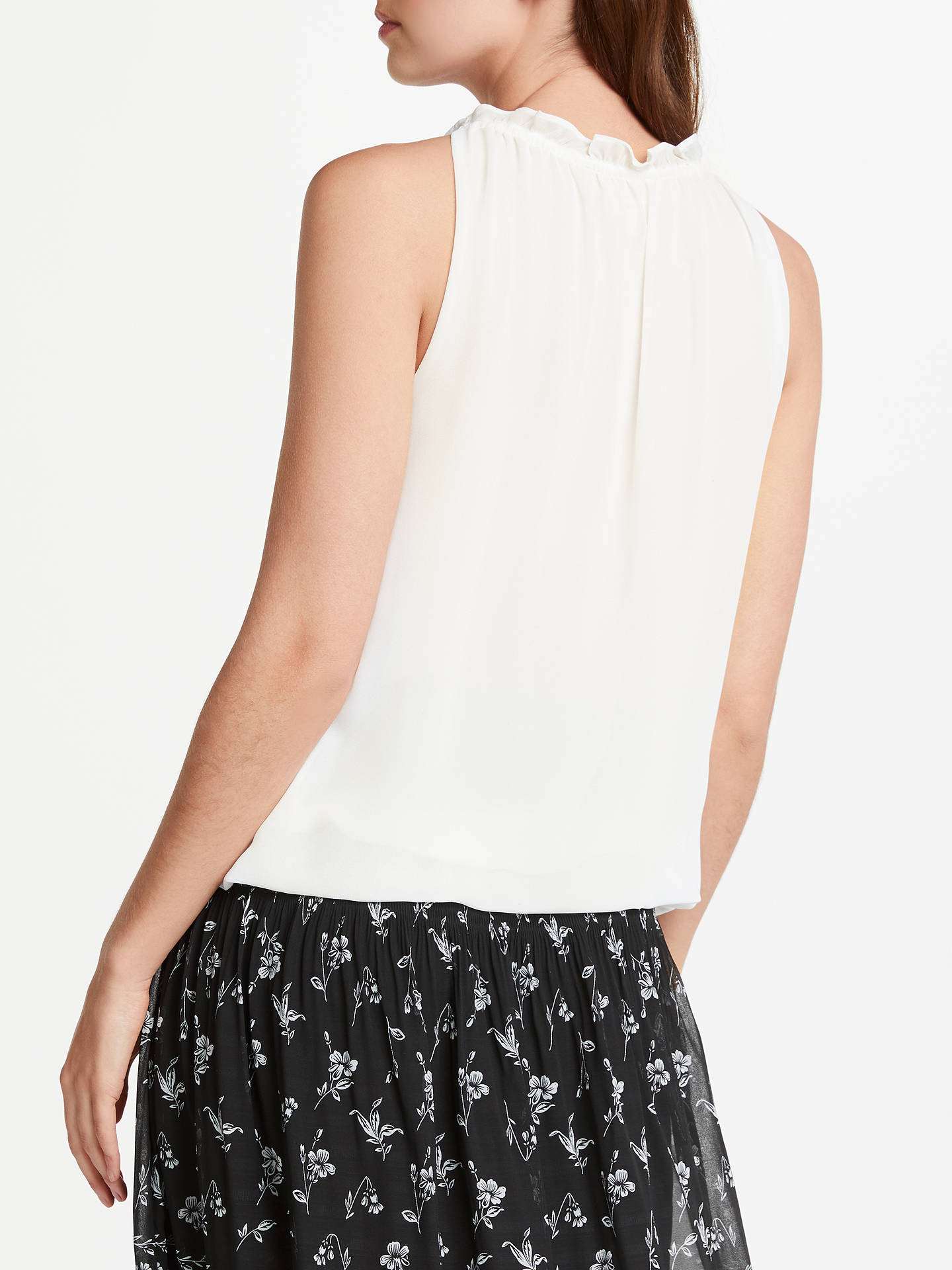 BuyMax Studio Sleeveless Ruffle Neck Top, Off White, XS Online at johnlewis.com