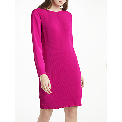 Marc Cain Pleated Straight Dress, Pop Pink