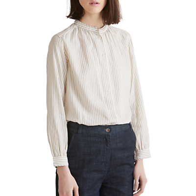 Toast Stripe Collarless Cotton Shirt, Ecru/Slate