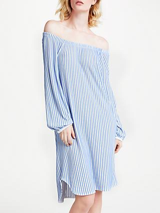 Marc Cain Striped Off The Shoulder Dress, Sky Blue/White