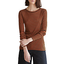 Buy Toast Stripe Wool Tencel Long Sleeve T-Shirt, Amber/Anthracite Online at johnlewis.com