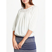 Buy Max Studio 3/4 Sleeve Lace Trim Top, Off White Online at johnlewis.com