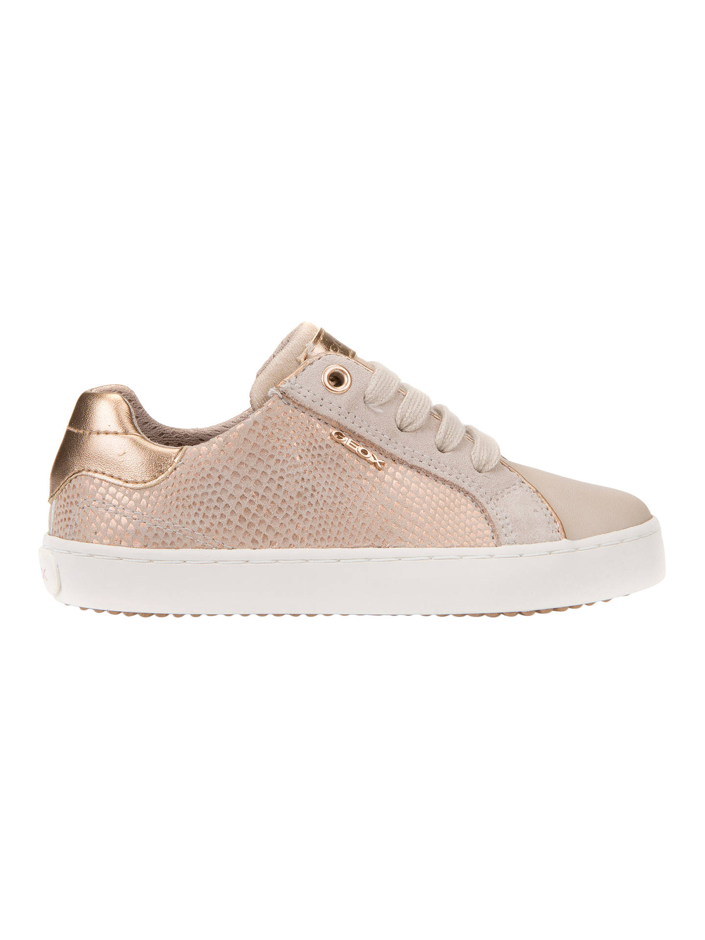 Geox J Kiwi G Girls Leather Trainers Hi Tops Silver at