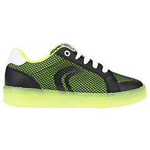 Buy Geox Children's J Kommodor Laced Shoes, Black/Lime Online at johnlewis.com