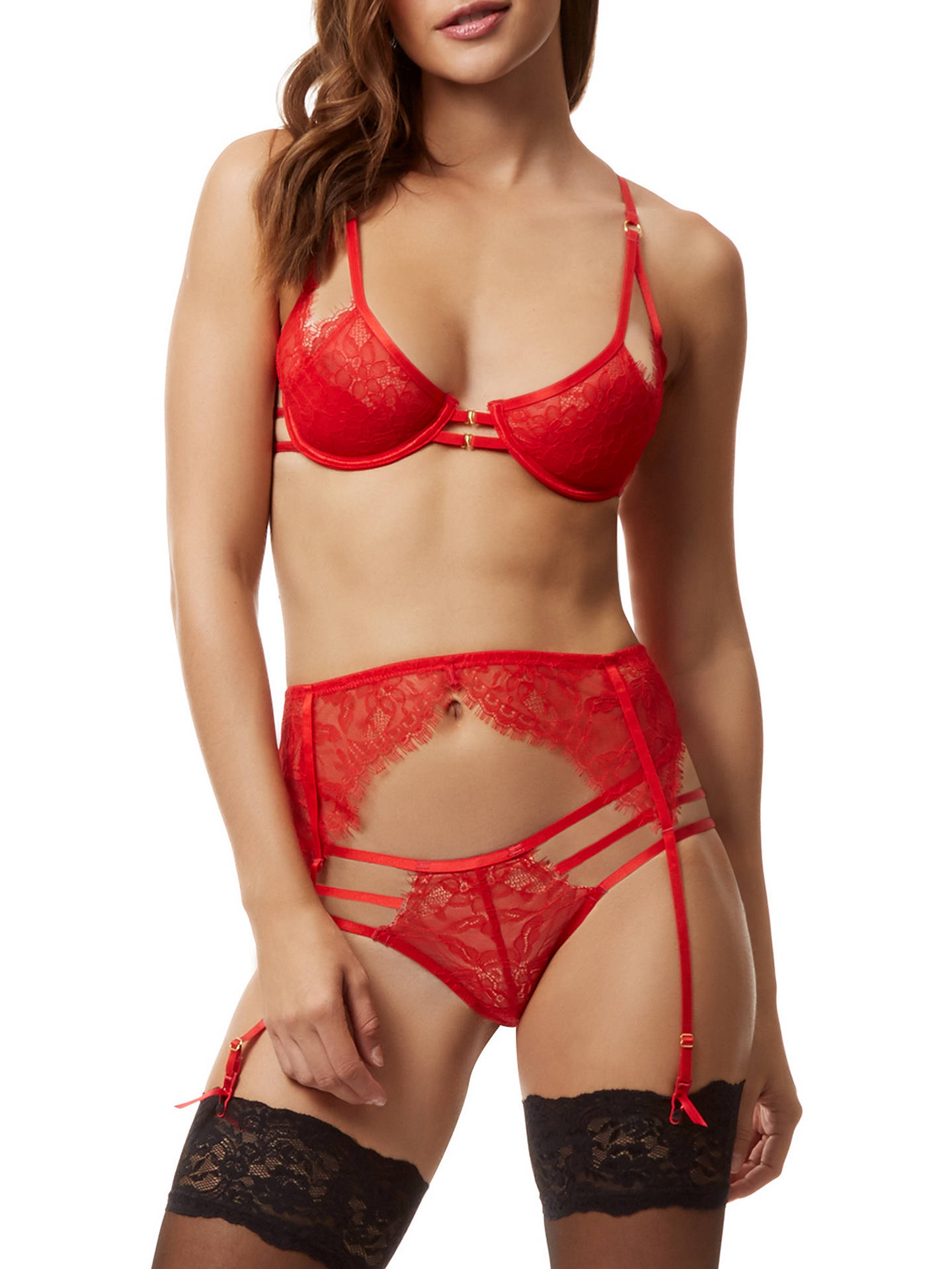 Buy Bluebella Arabella Lace Bra, Red, 34DD Online at johnlewis.com
