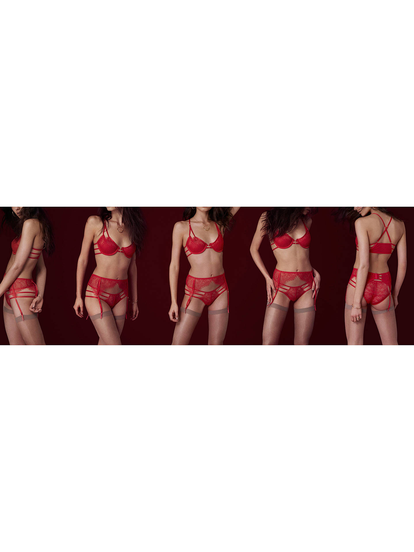 Buy Bluebella Arabella Lace Bra, Red, 32B Online at johnlewis.com