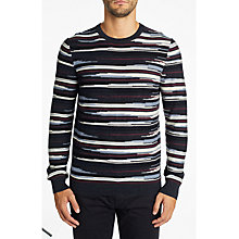 Buy BOSS Krallgo Long Sleeve Stripe Jumper, Open Blue Online at johnlewis.com