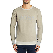 Buy BOSS Wenga Cotton Terry Logo Sweatshirt Online at johnlewis.com