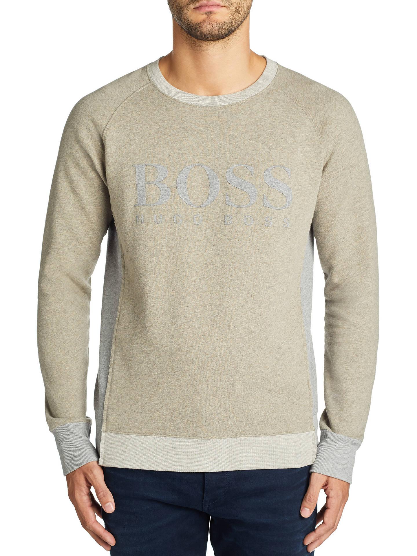 88873bb98a Buy BOSS Wenga Cotton Terry Logo Sweatshirt, Medium Beige, S Online at  johnlewis.
