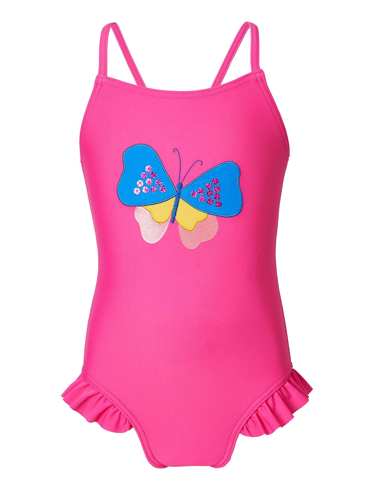 BuyJohn Lewis & Partners Girls' Butterfly Applique Swimsuit, Pink, 2 years Online at johnlewis.com