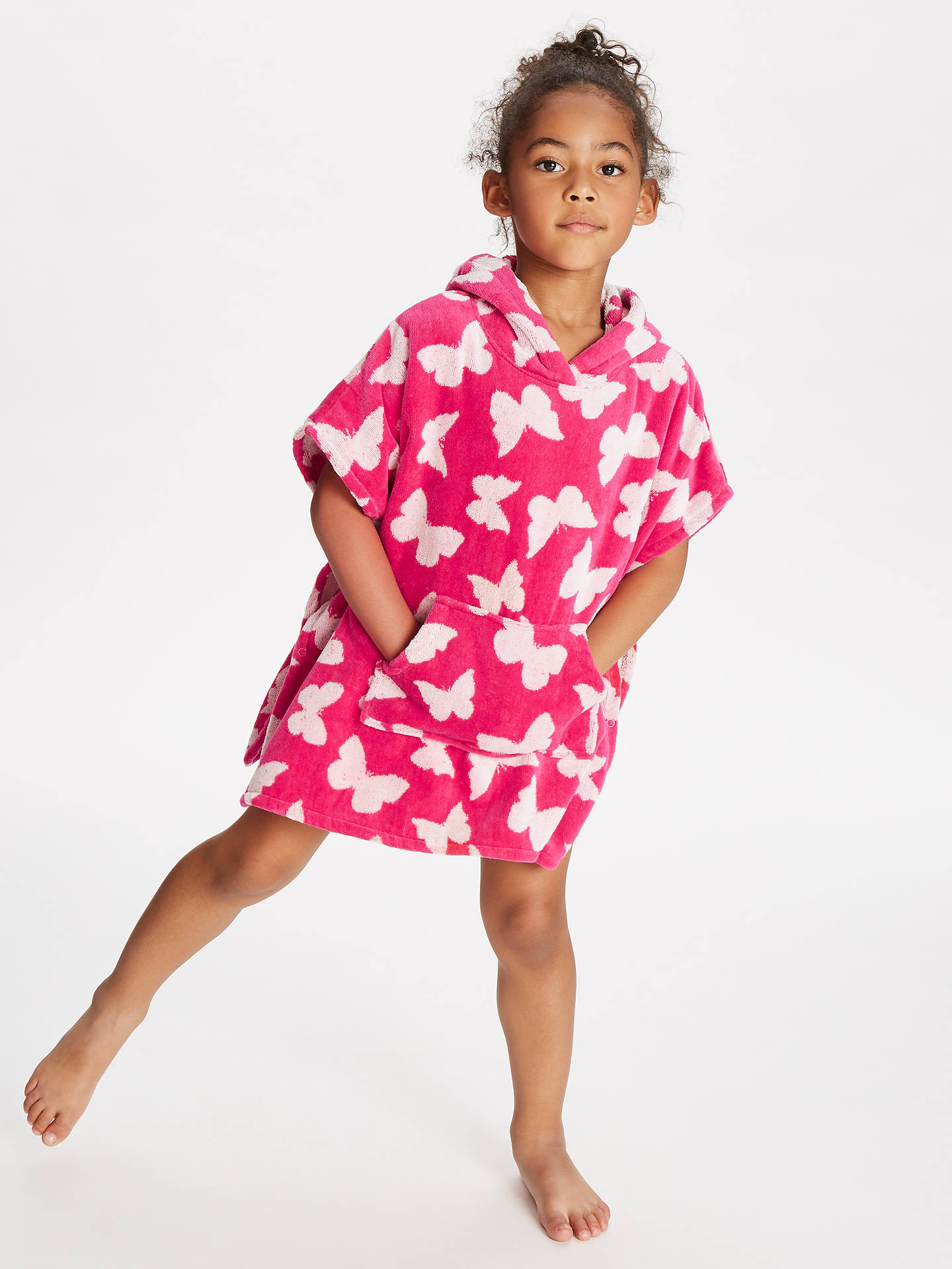 e2729205f ... Buy John Lewis & Partners Girls' Butterfly Towel Poncho, Pink, S Online  at ...