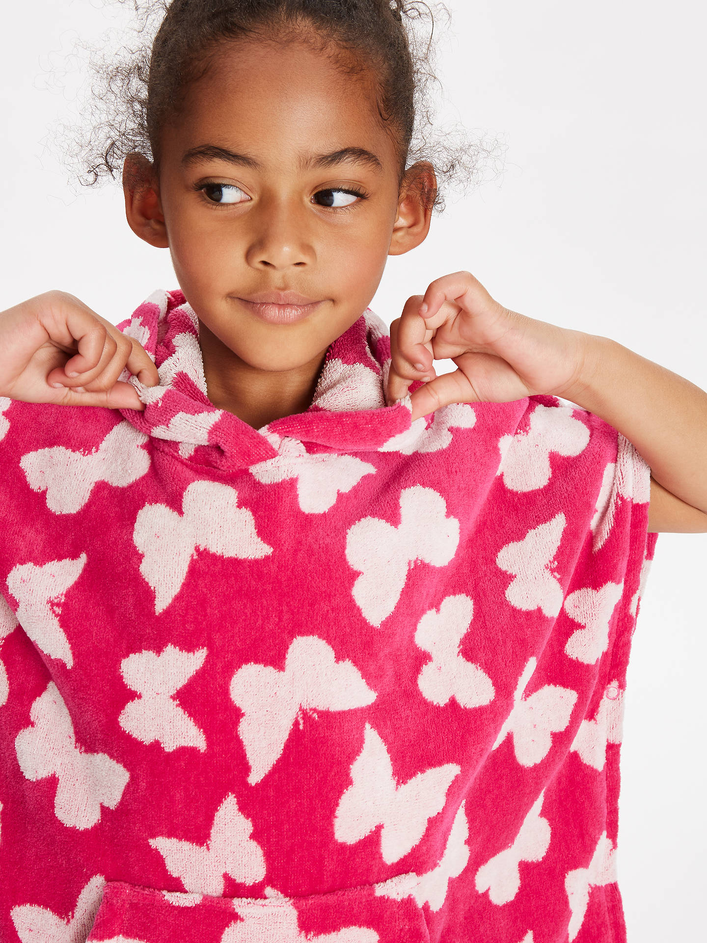 fc923fbfb ... Buy John Lewis & Partners Girls' Butterfly Towel Poncho, Pink, S Online  at