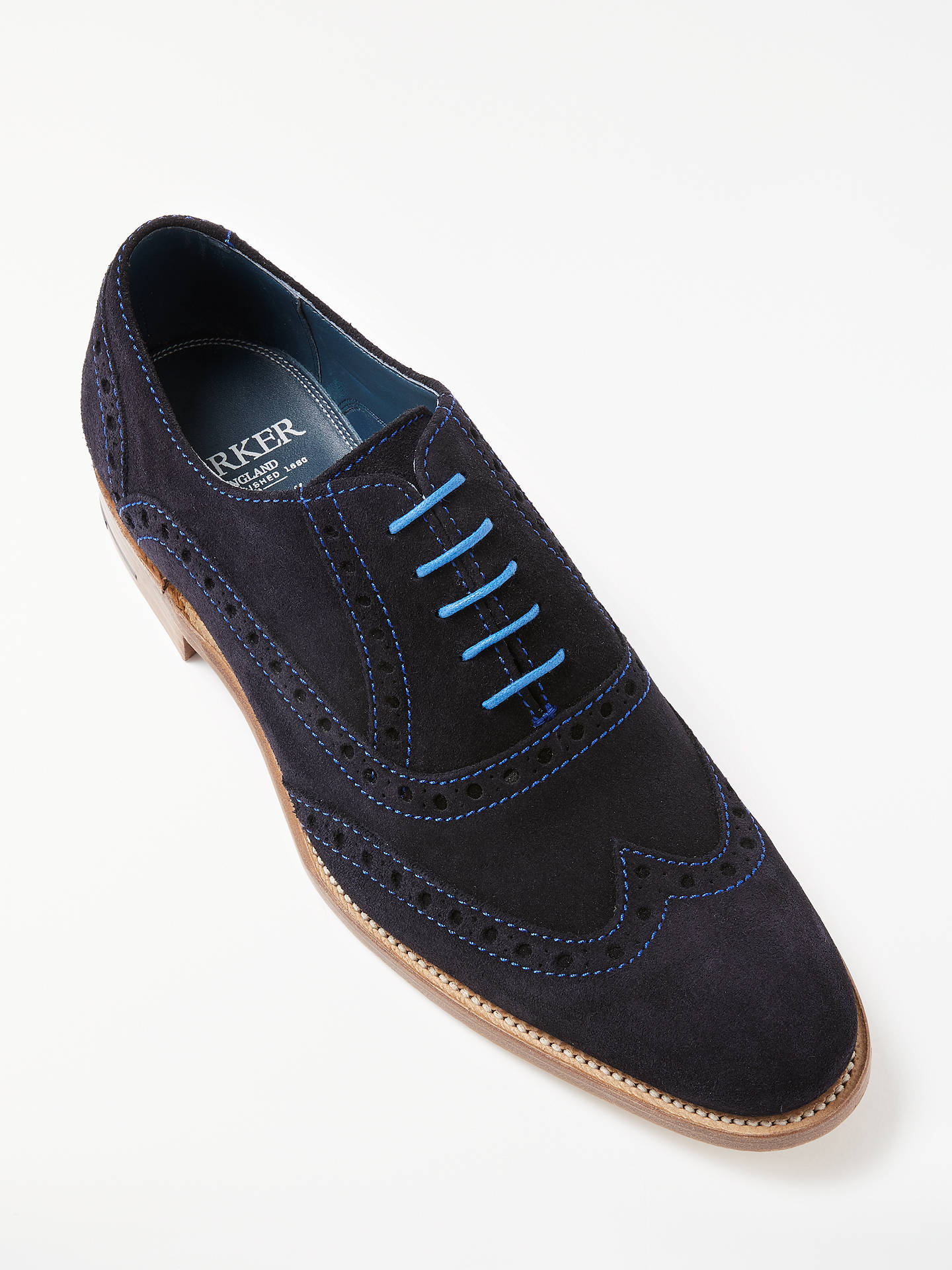 6bbe2d101ed5b ... Buy Barker Grant Suede Brogue Shoes, Dark Navy, 7 Online at  johnlewis.com