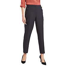 Buy Jaeger Button Detail Trousers, Black Online at johnlewis.com