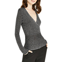 Buy Oasis Metallic Rib Wrap Top, Black Online at johnlewis.com