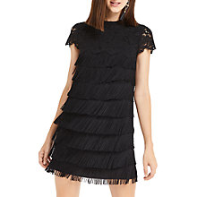 Buy Oasis Fringe And Lace Shift Dress, Black Online at johnlewis.com