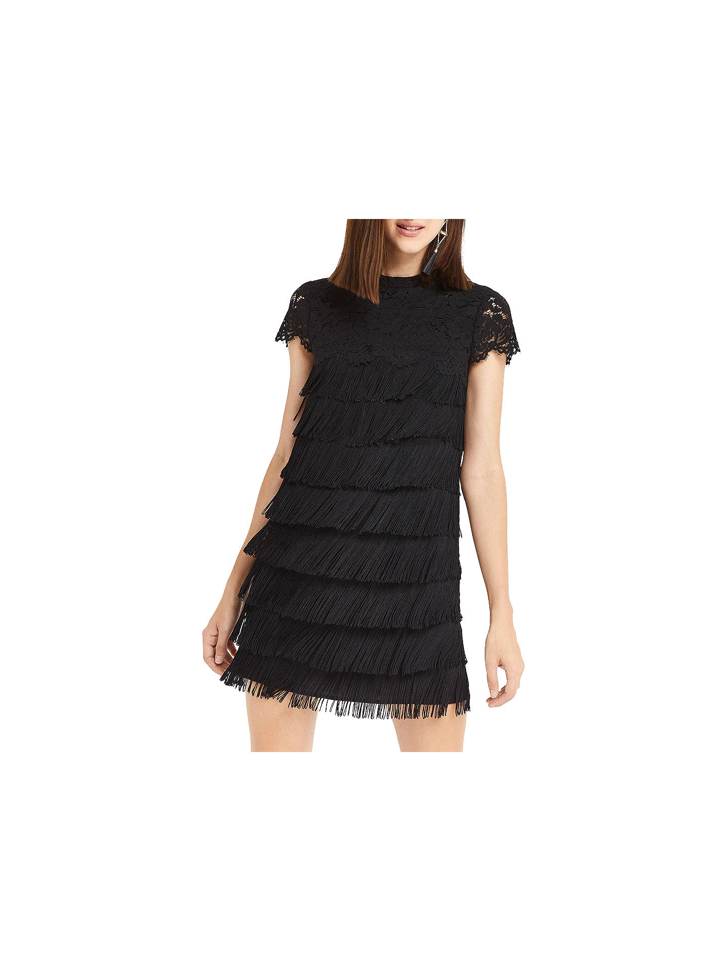 c374428a62d3 Buy Oasis Fringe And Lace Shift Dress, Black, 6 Online at johnlewis.com ...