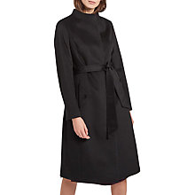 Buy Jaeger Wool Funnel Neck Belted Swing Coat, Black Online at johnlewis.com