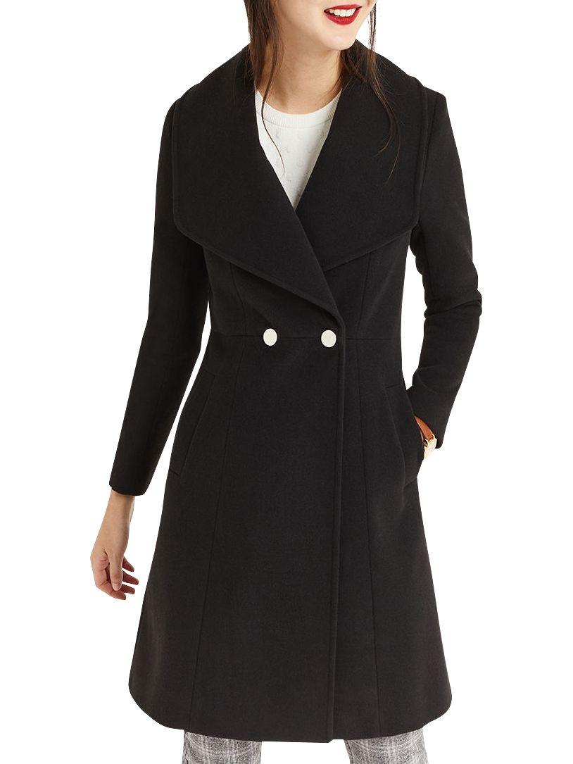 e7e8c51d0a30 Oasis Lily Premium Skater Coat, Black at John Lewis & Partners