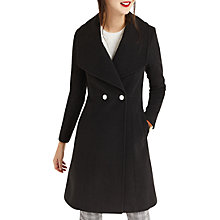 Buy Oasis Lily Premium Skater Coat, Black Online at johnlewis.com