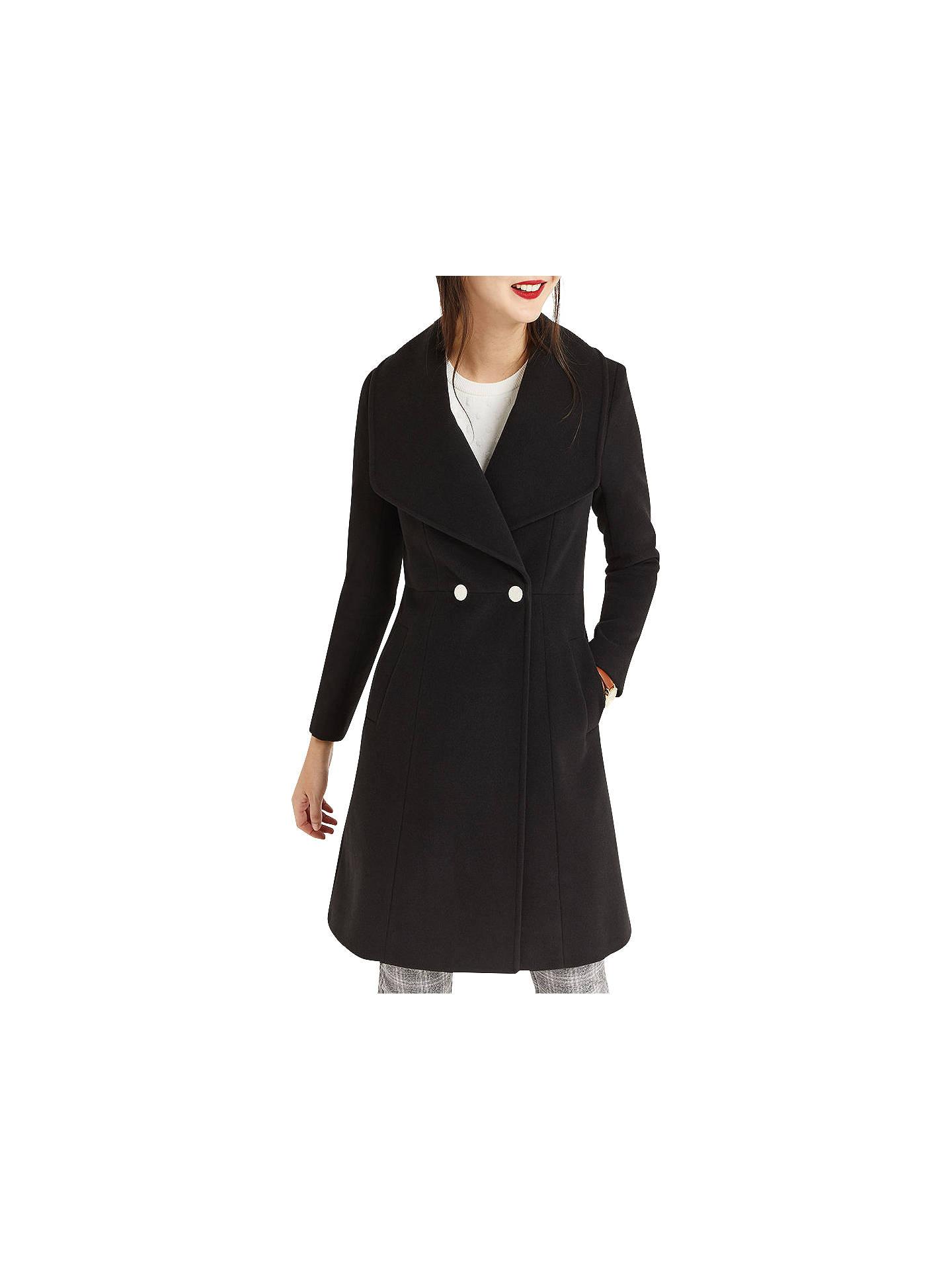 23382cec7e3d Buy Oasis Lily Premium Skater Coat, Black, XS Online at johnlewis.com ...