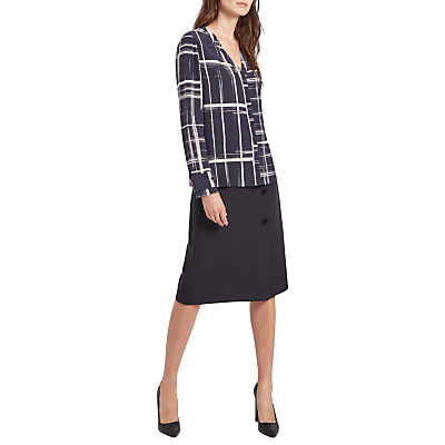 Product photo of Jaeger graphic check silk blouse blue ivory