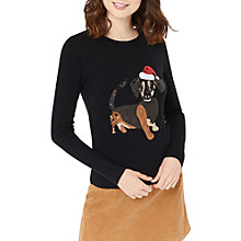 Buy Oasis Dachshund Christmas Jumper, Black Online at johnlewis.com