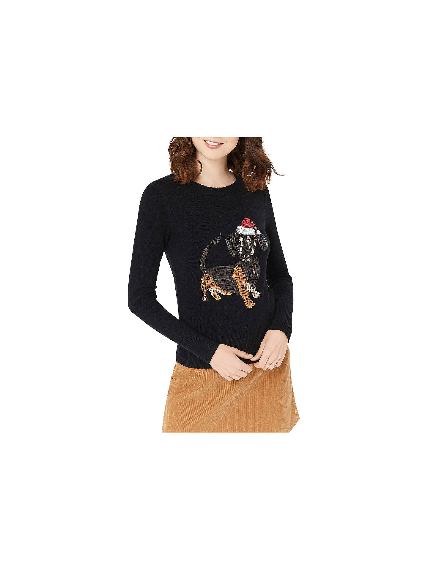 BuyOasis Dachshund Christmas Jumper, Black, XS Online at johnlewis.com