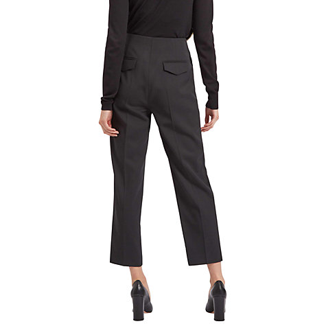 Buy Jaeger Tailored Pleated Trousers, Black Online at johnlewis.com
