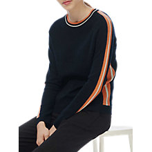 Buy Brora Merino Wool Rich Stripe Intarsia Jumper, Navy Online at johnlewis.com