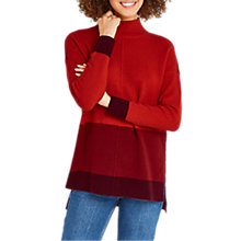 Buy Oasis Funnel Neck Colour Block Jumper, Mid Red Online at johnlewis.com