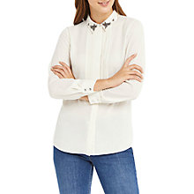 Buy Oasis Embellished Collar Blouse, Off White Online at johnlewis.com