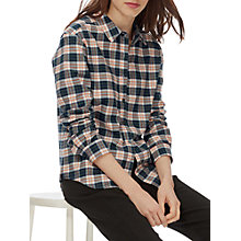 Buy Brora Pure Cotton Plaid Shirt, Khaki/Seville Online at johnlewis.com