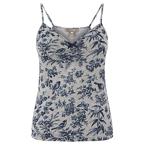 Buy Oasis Floral Print Vest Top, Grey/Multi Online at johnlewis.com