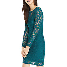 Buy Oasis Lace Sleeve Shift Dress, Turquoise Online at johnlewis.com