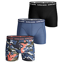 Buy Bjorn Borg Camo Plain Sammy Trunks, Pack of 3, Blue/Multi Online at johnlewis.com