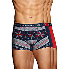Buy Gant Fair Isle Trunks, Pack of 3, Navy/Red Online at johnlewis.com