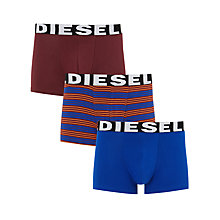 Buy Diesel Shawn Plain Stripe Trunks, Pack of 3, Burgundy/Blue Online at johnlewis.com
